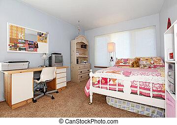 青, ピンク, 女の子, bedroom.