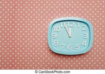 青, ピンク, 時計, 警報, スペース, ポルカ, 背景, コピー, 点