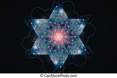 青, ピンク, 素晴らしい, 星, のまわり, 色, 霜, ライン, 効果, 中央, 黒い背景, 6つの - が向けられる