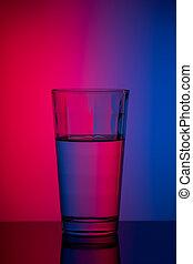 青, ピンク, 縦, イメージ, 水 ガラス, 背景