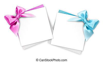 青, ピンク, 贈り物, 隔離された, 弓, 背景, カード, 白いリボン