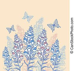 青, ピンク, 野生の花