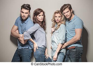 青, ファッションモデル, ジーンズ, シャツ, ポロ, 偶然