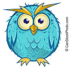 青, フクロウ, 隔離された, 背景, 白, 漫画