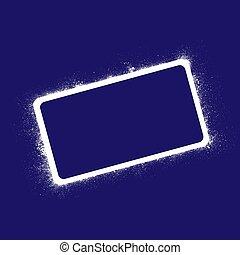 青, フレーム, グランジ, 長方形, 背景