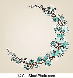 青, フレーム, ラウンド, 装飾, 小さい, 花, ∥あるいは∥