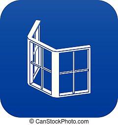 青, フレーム, 窓, ベクトル, ファサド, アイコン