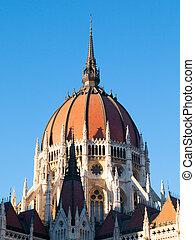 青, ブダペスト, 議会, 中央である, ハンガリー人, 晴れわたった空, ドーム, 背景