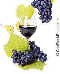 青, ブドウ, ガラス, 群がる, 赤ワイン