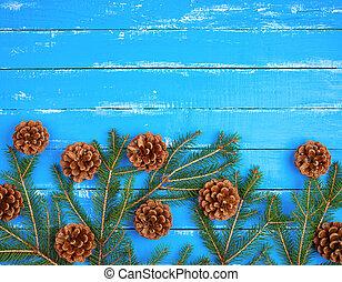 青, ブラウン, ブランチ, コーン, 木製である, 緑の背景, トウヒ