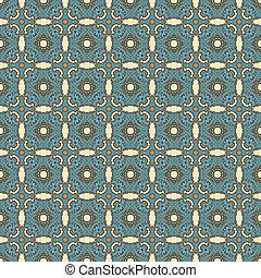青, ブラウン, &, 円形浮彫り, レース