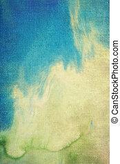 青, ブラウン, 古い, パターン, 抽象的, canvas:, 黄色, 背景, textured, 緑, 背景