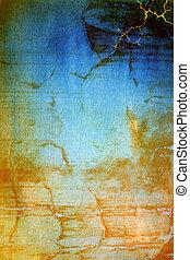 青, ブラウン, 古い, 抽象的, 黄色, ぼろを着ている, パターン, 背景, textured, wall:, 背景