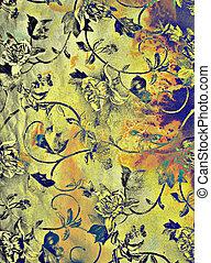 青, ブラウン, 抽象的, 黄色, パターン, 背景, textured, 花, 背景