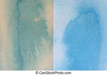 青, ブラウン, 水彩画, ペーパー, 緑の背景