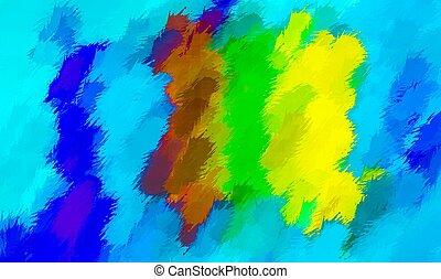 青, ブラウン, 緑, 絵, 黄色