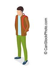 青, ブラウン, 靴, ジャケット, 緑, ズボン, 人