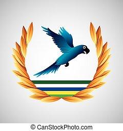 青, ブラジル, オリンピック, macaw, ゲーム, 紋章