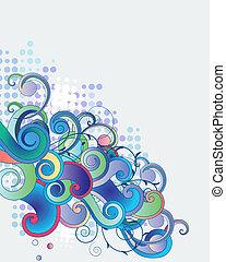 青, ブランチ, ライト, 抽象的, 空想, 背景