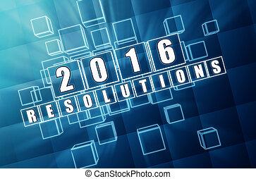 青, ブロック, ガラス, 年, 新しい, resolutions, 2016