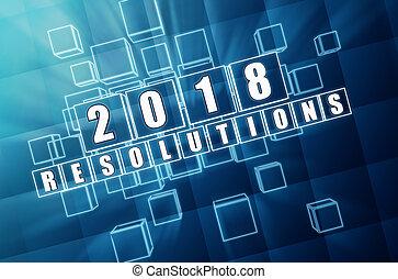 青, ブロック, ガラス, 2018, 年, 新しい, resolutions