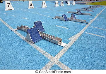 青, ブロック, トラック, 動くこと, 競技場, 運動競技, 始める