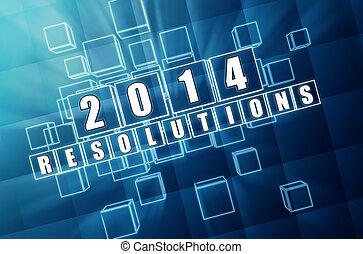 青, ブロック, 年, ガラス, 新しい, 2014, resolutions