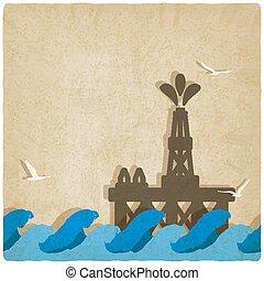 青, プラットホーム, オイル, 海