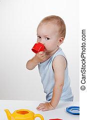 青, プレーしなさい, おもちゃ, 赤ん坊, 微笑, 服
