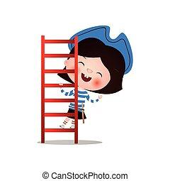 青, プレーしなさい, ブルネット, 女の子の微笑, 帽子, 海賊, 幸せ