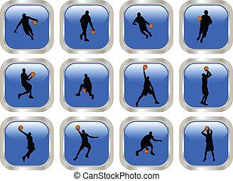 青, プレーヤー, ボタン, バスケットボール