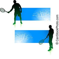 青, プレーヤー, 旗, テニス