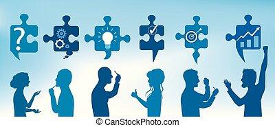青, プロフィール, 概念, service., ビジネス 人々, 色, 困惑, 問題を解決すること, 解決, 小片, シンボル, solution., team., クライアント, gesticulate., 問題, 作戦, success.