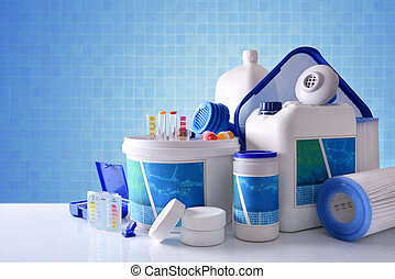 青, プール, 概観, 化学物質, プロダクト, 清掃, 背景, モザイク