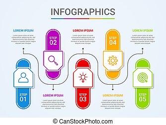 青, ベクトル, データ, イラスト, テンプレート, 背景, 視覚化, ビジネス, ステップ, infographic, 5