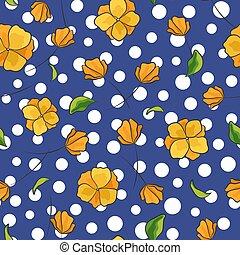 青, ベクトル, パターン, 抽象的, ポルカ, seamless, 色, 黄色, 点, 背景, 花, 白い花, hand-drawn