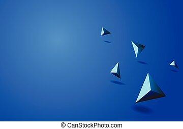 青, ベクトル, 抽象的, イラスト, プリズム, 背景