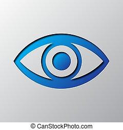 青, ベクトル, 目, illustration., ペーパー, 芸術, icon.