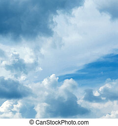 青, ベクトル, 空, 曇り, 背景