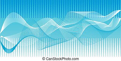 青, ベクトル, 背景, 波