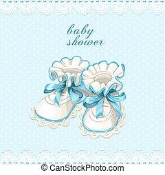 青, ベビー毛糸編み幼児靴, カード, シャワー