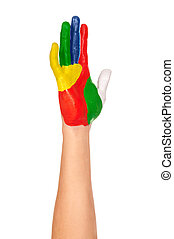 青, ペイントされた, 手, 黄色, 緑, 白い赤
