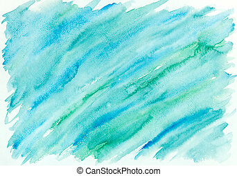 青, ペイントされた, 抽象的, 手, 水彩画, 緑の背景