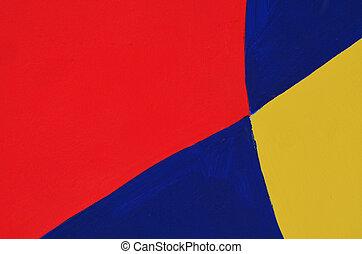 青, ペイントされた, 抽象的, 黄色, 壁, 赤