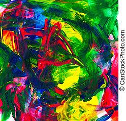 青, ペイントされた, 抽象的, 黄色, 手, ペンキ, 色, 緑, 手ざわり, 背景, アクリル, 赤