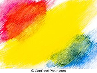 青, ペイントされた, 抽象的, 黄色, 水彩画, バックグラウンド。, ペーパー, 白い赤