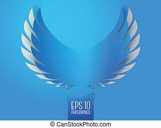 青, ペーパー, 紋章, 翼, 天使