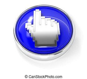 青, ボタン, カーソル, グロッシー, ラウンド, アイコン