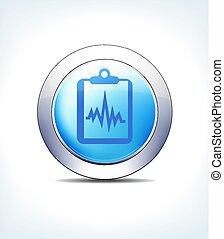 青, ボタン, 患者カルテ, レコード, クリップボード, ベクトル, アイコン