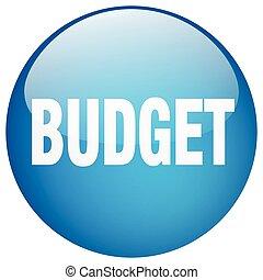 青, ボタン, 隔離された, 予算, 押し, ラウンド, ゲル